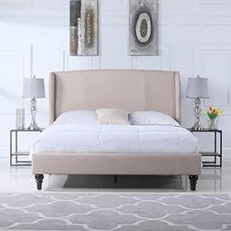Divano Roma Furniture Classic Deluxe Linen Platform Bed Fram