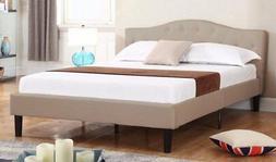 Divano Roma Furniture Classic Deluxe Linen Low Profile Platf