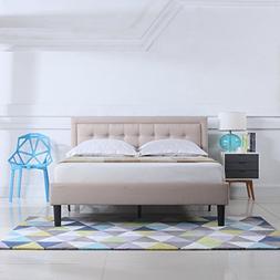 Full Size Ivory Low Profile Bed w/ Nailhead Trim Headboard