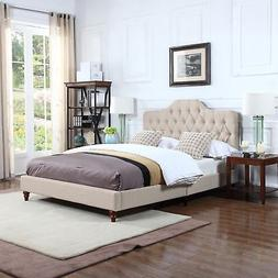 Divano Roma Furniture Classic Ivory Tufted Fabric Low Profil