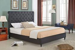 "Home Life Cloth Black Linen 51"" Tall Headboard Platform Bed"