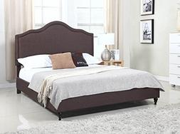"Home Life Cloth Brown Linen 51"" Tall Headboard Platform Bed"