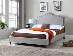 "Home Life Cloth Light Grey Silver Linen 51"" Tall Headboard P"