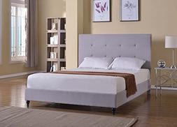 "Home Life Cloth Light Grey Silver Linen 47"" Tall Headboard P"