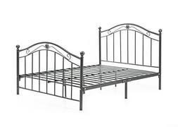 Hodedah Complete Metal Bed with Headboard, High Footboard, S