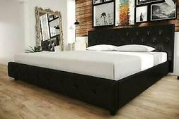Contemporary Black Leather King Size Bed Frame w/ Tufted Hea