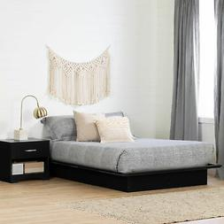 Contemporary Style Black Onyx/Charcoal Finish Platform bed 5