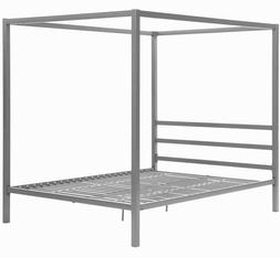 Contemporary Canopy Bed Frame - Grey, Queen Size