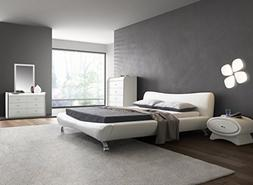 Contemporary White Faux Leather Platform Bed
