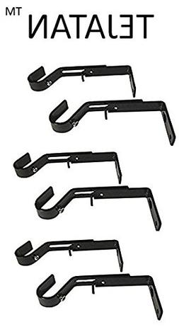 Curtain Rod Brackets - Black  Adjustable