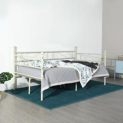 Daybed Metal Bed Frame Twin Size with Headboard Stable Steel