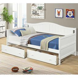 Daybed with Storage Underneath White Bed Frame with 2 Drawer
