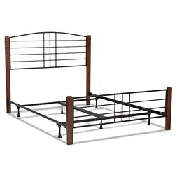 Dayton Complete Bed with Metal Panels and Flat Wooden Posts,