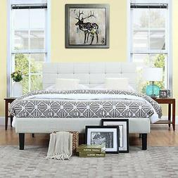 Deluxe Beige Linen Low Profile Platform Bed Frame with Tufte