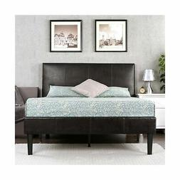 Sleep Revolution Deluxe Faux Leather Platform Bed with Woode
