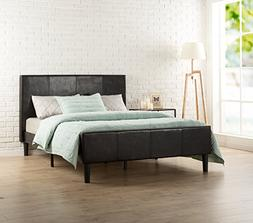 Zinus Deluxe Faux Leather Upholstered Platform Bed with Foot
