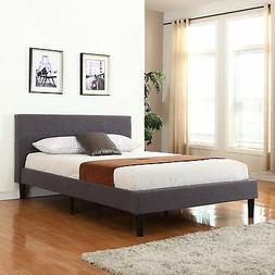 Deluxe Tufted Grey Platform Bed Frame with Wooden Slats