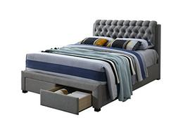 Furniture World Diego Upholstered Bed with Button Tufted Hea