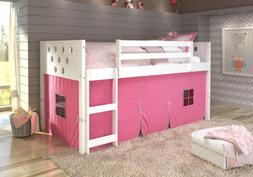 DONCO KIDS Circle White Low Loft with Pink Tent  Twin