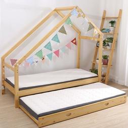 Double Children Floor Bed Frame Toddler Premium Wood Kids Tw