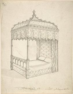 Drawing   Charles Hindley and Sons   Design for a Gothic Bed