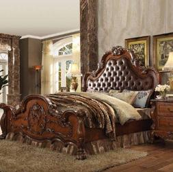 Acme Dresden California King Bed in PU and Cherry Oak Finish