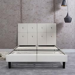 PrimaSleep 14 Inch Dura Metal Faux Leather Wood Bed Frame wi