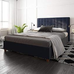 DHP Emily Upholstered Linen Platform Bed with Wooden Slat Su