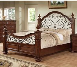 Furniture of America Emmental Poster Bed with Scrolling Meta