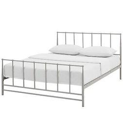 Modern Contemporary Queen Size Platform Bed Frame, Grey Gray