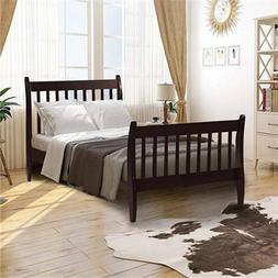 Espresso Bed Frame Platform Bed No Mattress Foundation w/ Wo