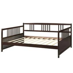 Espresso Daybed Full Size Wood Bed Frame W/Slats Bedroom Day
