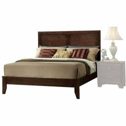 Espresso Queen Size Wood Platform Bed Frame Panel Headboard