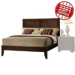 Espresso Queen Size Wood Platform Bed Frame Panel Headboard