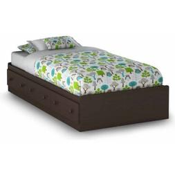 "Espresso 39"" Twin Size Bed with 3 Drawers Closed Space Stora"