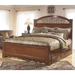 Ashley Fairbrooks Estates Wood King Poster Panel Drawer Bed