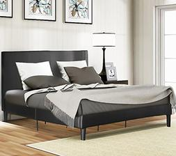Harper&Bright Designs Faux Leather Platform Bed with Wood S