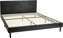 AmazonBasics Faux Leather Upholstered Platform Bed with Wood