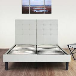 Olee Sleep Faux Leather Wood Slate Folding Platform Bed Fram