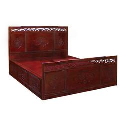 Flower and Bird Motif King Size Rosewood Platform Bed with D