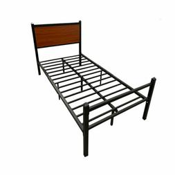 Foldable Twin Size Metal Platform Bed Frame with Headboard F