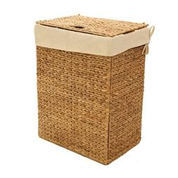 Classic Foldable Water Hyacinth Hamper Basket Clothes Laundr