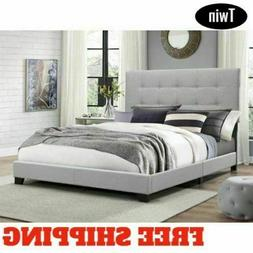 Full Size Platform Bed Frame Upholstered Gray Linen Headboar