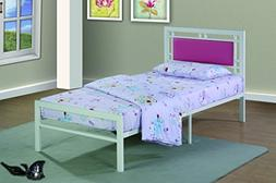 Furniture World Frank Contemporary Metal Bed with Upholstere