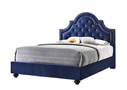 Furniture World Frida Velvet Upholstered Bed with Tufted Hea