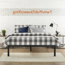 Full/King Size Metal Platform Bed Frame Wood Slat Mattress F