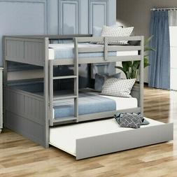 Full Over Full Bunk Bed with Twin Size Trundle with Ladder B