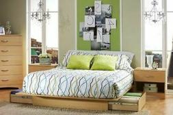 Full Queen Size Natural Maple Wooden Platform Bed Frame Unde