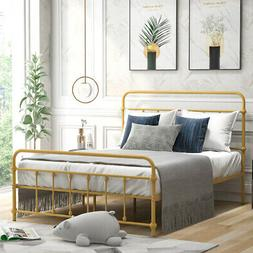 Full Size Bed Frame Iron Platform Bed w/ Headboard Footboard