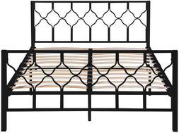 NEW Full Size Bed Frame Metal Platform Bed Firmly Wood Slat